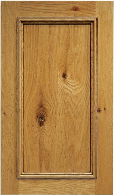 Cascade Am F Panel Rustic Red Oak on Recessed Wood Carvings