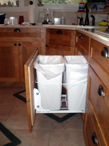 Custom cabinet waste baskets