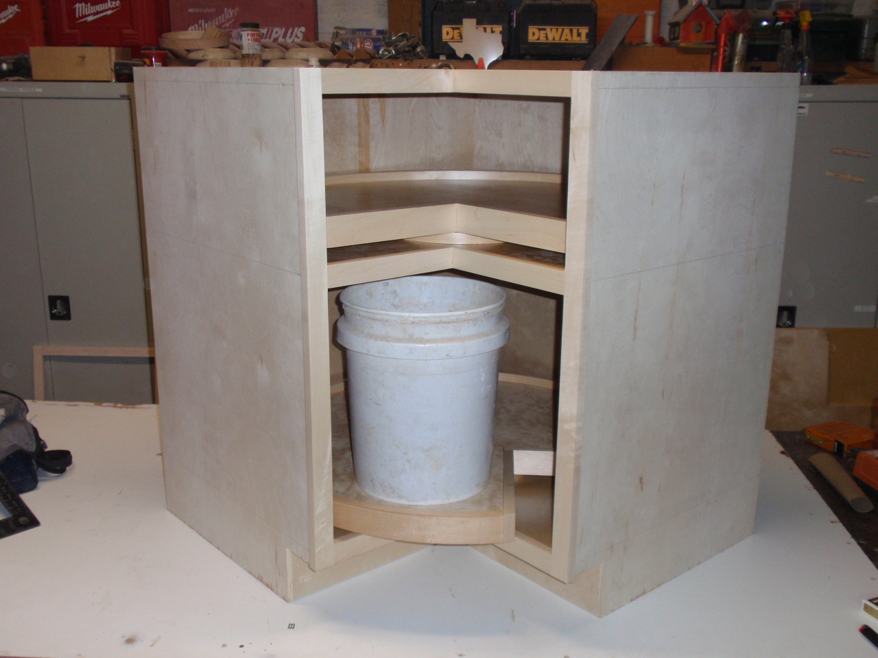 Easy reach lazy susan built for 5 gallon buckets